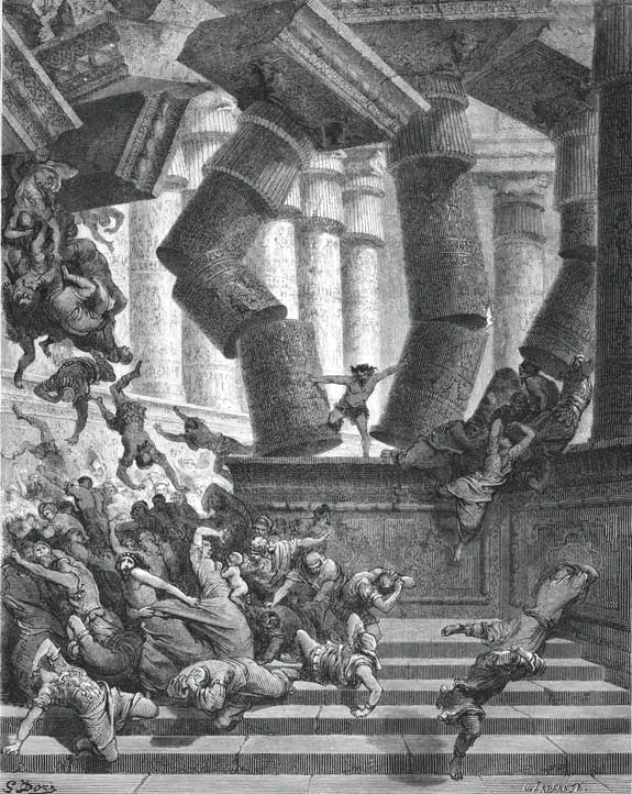 Samson in the Temple of Dagon, destroying his enemies, and himself