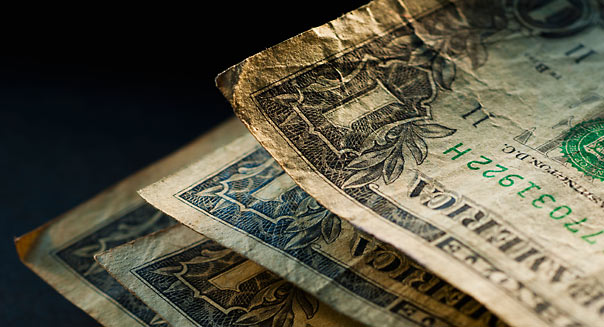 Studio shot of old dollar notes. Image shot 2011. Exact date unknown.